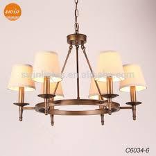 Chandelier Antique Brass European Linen Shade Collins Chandelier 6 Lights Antique Brass