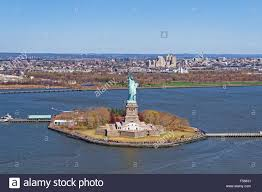 aerial view of the statue of liberty in new york city with