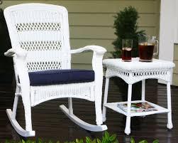 Plantation Coastal White Wicker Outdoor Rocking Chair - White wicker outdoor furniture