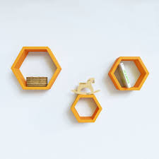 Shelves For Bedroom by Decornation U0027s Set Of 3 Hexagon Wall Shelves Unit Orange