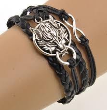 leather metal bracelet images Charming wolf head pendant rope chain leather and metal bracelet jpg