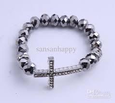 crystal rope bracelet images 2018 sideways cross charm bracelet rhinestone cross with faceted jpg