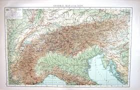 Alps Mountains Map Old Victorian Antique Prints And Maps