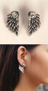 angel wing earrings fashion feather angel wings rhinestone earrings stud wing
