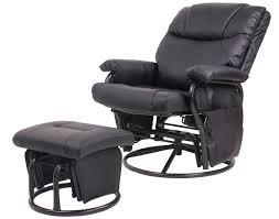 merax gliders merax glider recliner chair with ottoman black pu