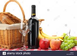 Wine Picnic Baskets Picnic Basket With Healthy Food And Wine On White Background Stock