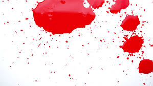 organic bloody mix bloody pink claret ink paint droplets spreads on the paper