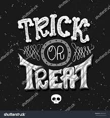 trick treat hand lettering card halloween stock vector 383890477