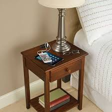 the wooden nightstand with integrated charging station gadgetsin