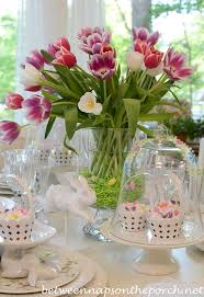 Simple Easter Table Decorations by Easter Table Spring Setting With Tulip Centerpiece And Pottery
