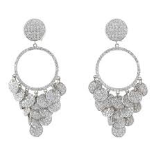 diamond chandelier earrings pave diamond chandelier earrings for sale at 1stdibs