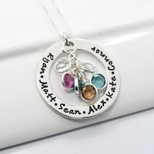 mothers day birthstone necklace personalized grandmother sted necklace sterling