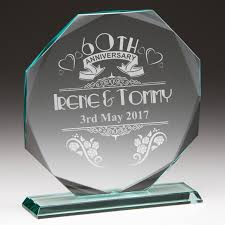 wedding anniversary plaques 60th anniversary personalised glass plaque engrave a gift