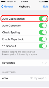 iphone ipad ipod touch enable disable automatic capitalization