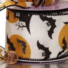 spooky night halloween wired ribbon
