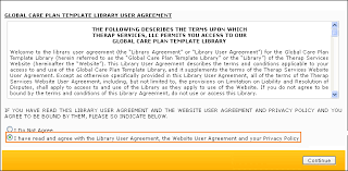importing care plan template from global template library
