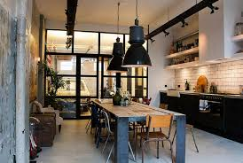industrial kitchen ideas chic industrial kitchen white tile backsplash rustic wooden island
