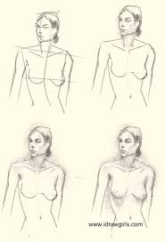 how to draw woman upper body drawing and digital painting