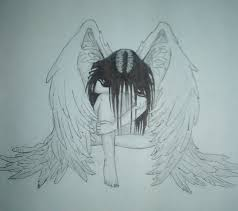 drawn broken heart angel pencil and in color drawn broken heart