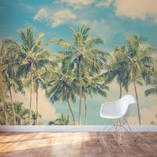 vintage summer palms wall mural thailand pier sunset wall mural