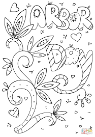 arbor day doodle coloring page free printable coloring pages
