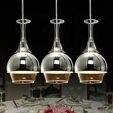 Wine Glass Pendant Light 3 Light Colorful Glass Blown Pendant Lights For Bedroom