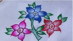 Painting Designs Fabric Painting Single Shade Sari Design