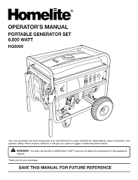 homelite hg6000 portable generator user manual