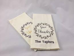 personalized dish towel set of two give thanks thanksgiving