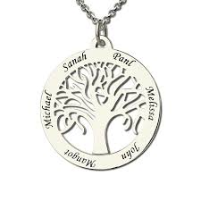 name engraved necklace personalized family tree necklace engraved circle name necklace