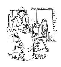 pligrim women making thanksgiving crafts coloring