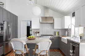 Charcoal Gray Kitchen Cabinets White And Charcoal Gray Kitchen With Chevron Runner Transitional