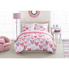 Polka Dot Bed Sets by Mainstays Kids Sweet Hearts Bed In A Bag Bedding Set Walmart Com