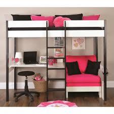 bedroom metal loft bed with corner desk compact linoleum wall