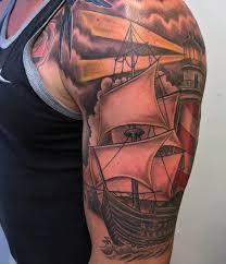Lighthouse Tattoo Ideas 70 Ship Tattoo Ideas For Men A Sea Of Sailor Designs
