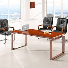 Office Furniture Conference Table Modern Office Wooden Small Meeting Table With Metal Frame Hy A218