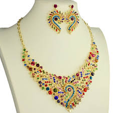 coloured crystal necklace images Rainbow coloured crystal diamante filigree dress wear party jpg