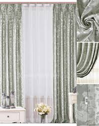 Silver Window Curtains Printing Pattern Poly Blended Material Bow Window Curtains