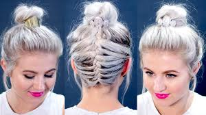 short hair tutorial messy braided top knot milabu youtube