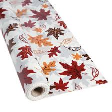 40 x 100 ft plastic fall leaves tablecloth roll