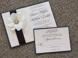 chagne satin ribbon blair black and ivory lace wedding invitation flower