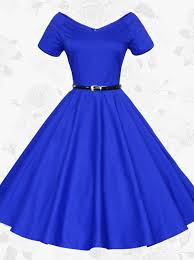 women v neck short sleeves vintage 50s 60s royal blue party swing