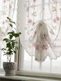 Shabby Chic Curtains Cottage 1 Pc Country Voile Pull Up Curtain With Embroidery Ruffle