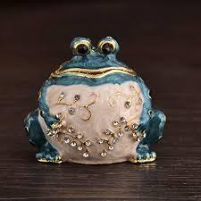ceramic animal ring holder images Micg handmade blue frog trinket box wedding ring holder animal jpg