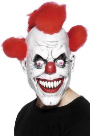 Scary Clown Halloween Costumes Men Scary Clown Red Eyed Hair Mask Latex Halloween Evil Killer