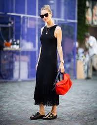 trini gap black midi dress celine cabas bag adidas duramo slides