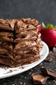 Double Chocolate Greek Yogurt Pancakes Running With Spoons