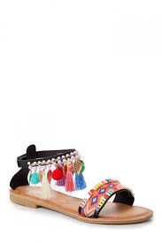 black sandals fun black sandals pom sandals statement shoes 22 00