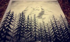 charcoal drawing forest mountains sketch it youtube