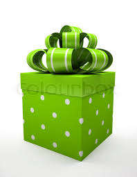 green gift bow green gift box with green bow isolated on white backgroung stock